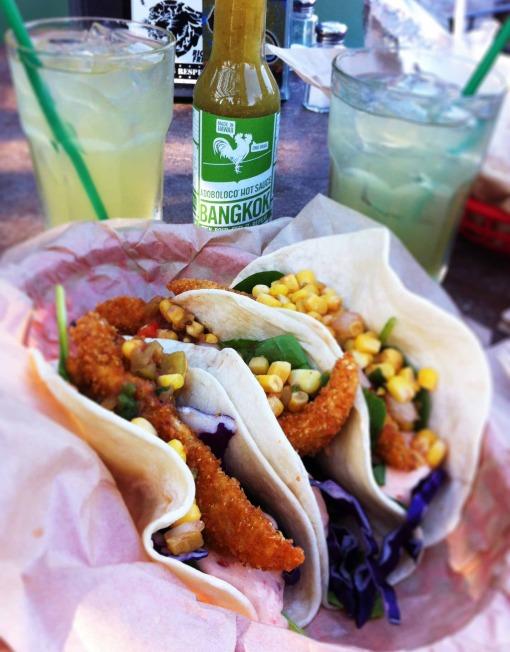 Bangkok Thailand hot sauce margaritas fish tacos