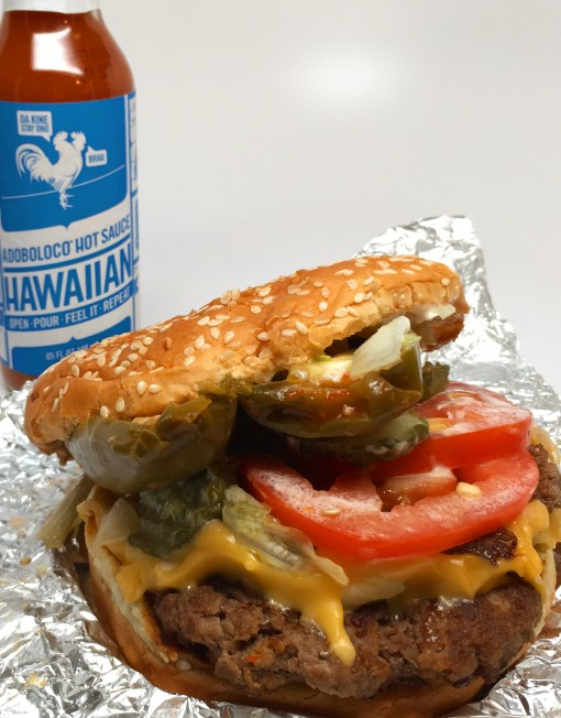 Five Guys Cheese Burger with Jalapeno Chicos and Adoboloco Hawaiian Hot Sauce