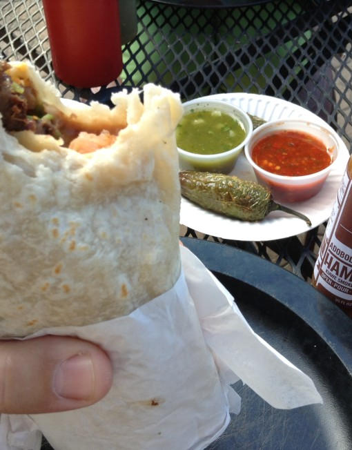 Lengua Super Burrito in Bend Oregon with Adoboloco Hamajang Smoked Ghost Pepper Hot Sauce