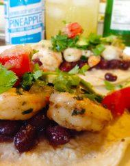 Pineapple Habanero Hot Sauce with Fresh Kauai Shrimp and Black Bean Tacos