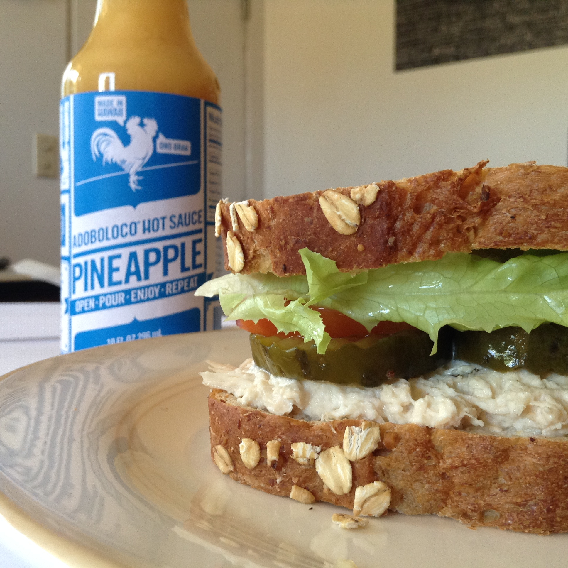 Tuna Fish Salad Sandwich with Adoboloco Pineapple Habanero Hot Sauce