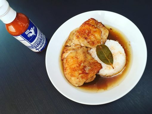 Fried Chicken Adobo with Sabaw and Adoboloco Hawaiian Chili Pepper Water