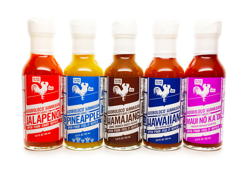 Adoboloco Hot Suace - Jalapeno, Pineapple Habanero, Hamajang Smoked Ghost Pepper, Hawaiian Chili Pepper Water, Maui No Ka Oi Trinidad Moruga Scorpion Pepper