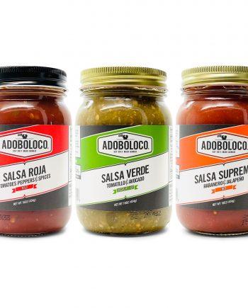 Adoboloco salsa gift pack 3 salsas including Roja, Verde and Supremo