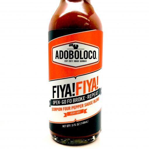 Adoboloco FIYA FIYA close up of hot sauce bottle