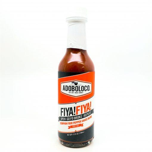 Adoboloco FIYA FIYA front of hot sauce bottle