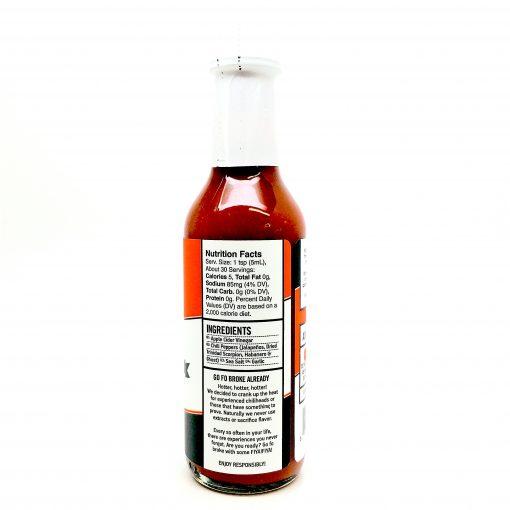 Adoboloco FIYA FIYA hot sauce ingredients and nutritional panel