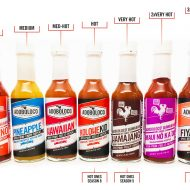 Adoboloco Hot Sauce Heat Scale, showing Jalapeno, Pineapple, Hawaiian, KoloheKid, Hamajang, Maui No Ka Oi and FIYA FIYA hot sauces
