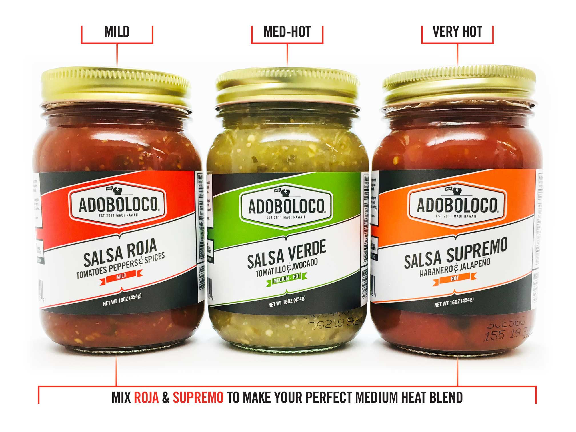 Adoboloco salsa trio with Roja, Verde and Supremo