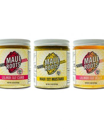 MAUI ROOTS GUAVA JAM, MAUI ONION GARLIC MUSTARD, LILIKOI PASSION FRUIT JELLY, LILIKOI PASSION FRUIT CURD