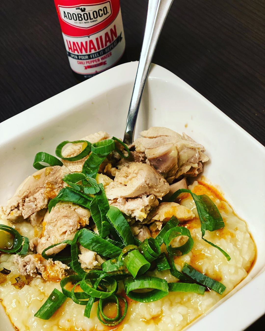 Ginger chicken congee with Hawaiian chili pepper water
