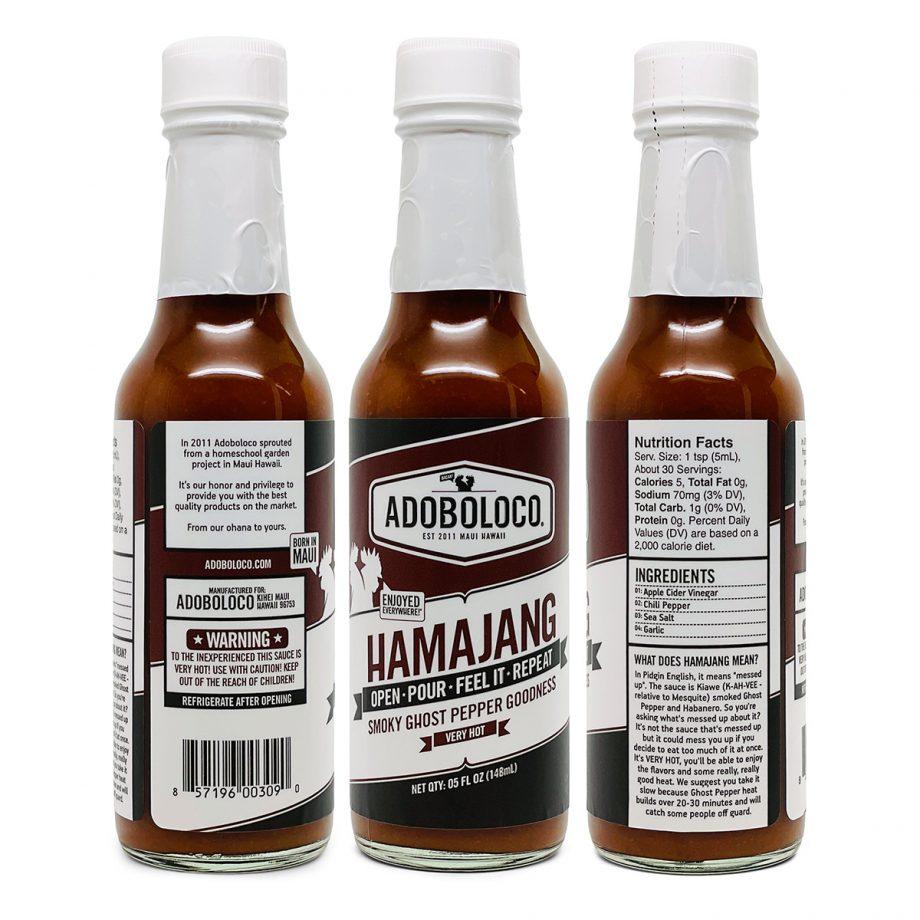 3 Bottles of Adoboloco Hamajang Smoked Ghost Pepper Hot Sauce