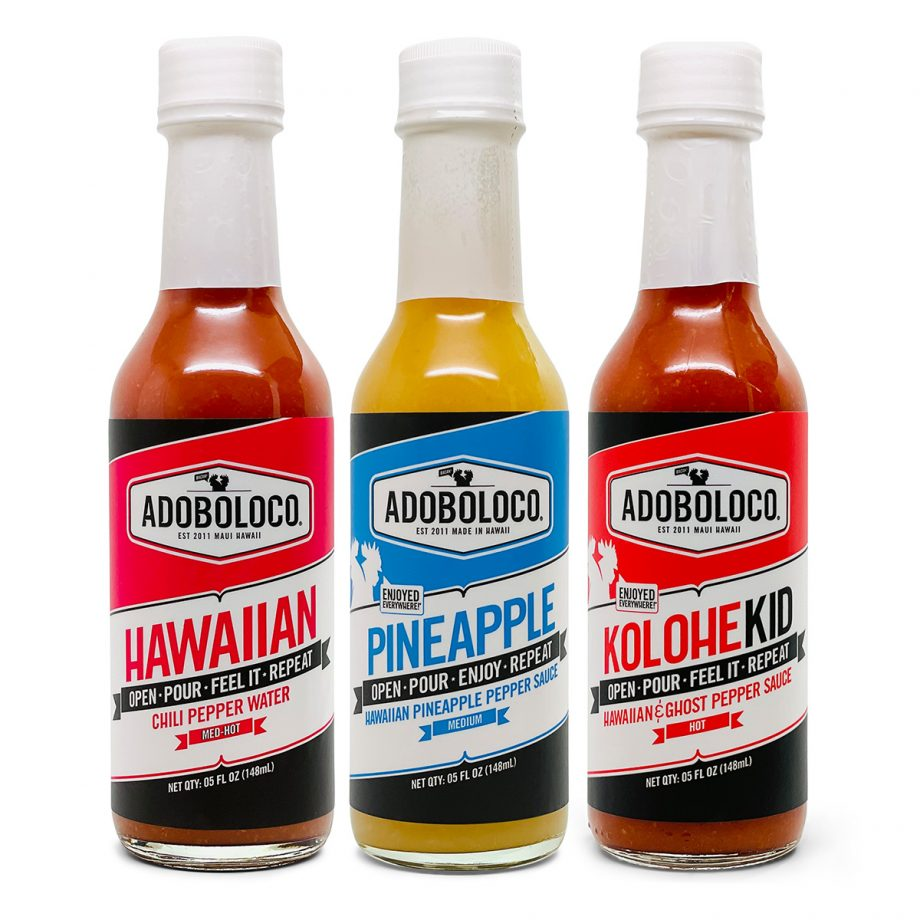 ADOBOLOCO PRIMO HOT SAUCE GIFT PACK with Hawaiian Chili Pepper Water, Pineapple Habanero and Kolohe Kid Ghost Pepper and Hawaiian Chili Pepper