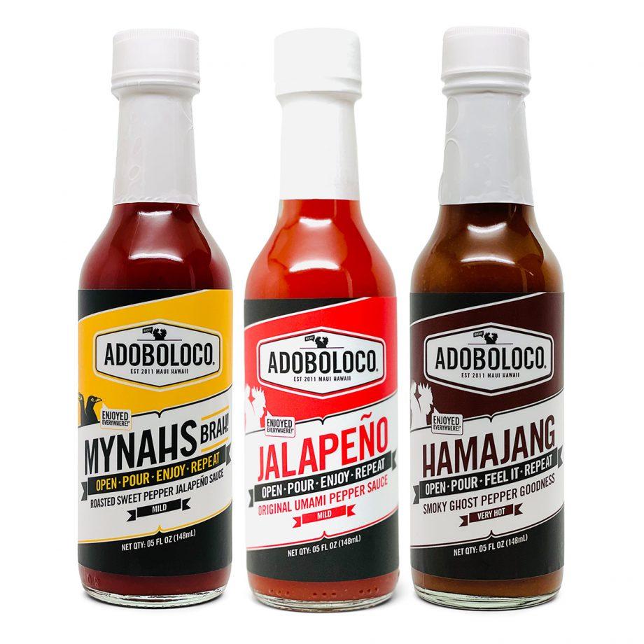 ADOBOLOCO PRIMO HOT SAUCE GIFT PACK with Mynahs Brah!, Jalapeno Umami and Hamajang Smoked Ghost and Habanero pepper sauce
