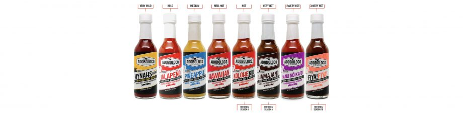 Hot sauce flavors with heat scale showing from mild to very hot